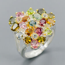 Handmade Natural Tourmaline 925 Sterling Silver Ring Size 5.5/R120674