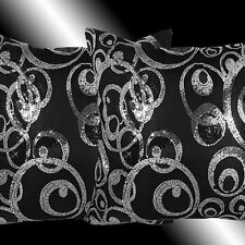 """2X ABSTRACT SHINY SILVER BLACK SEQUINS THROW PILLOW CASES CUSHION COVERS 16"""""""