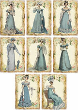 Vintage Jane Austen Blue Gowns small note cards tags set of 8 with envelopes