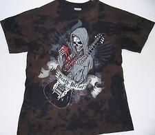 Death Metal - Skull Blood Heart Guitar - Batik Shirt - Größe Size M - Neu