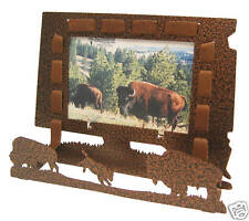 3-D buffalo / bison with leather copper vein 3x5H picture frame