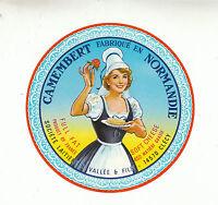 Etiquette de Fromage Ancienne  Camembert de Normandie Vallée & Fils  No 193