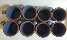 Set of 8 Noritake Adobe Blue Coffee Mugs Mug Stoneware 8678 Aztec Japan N82915