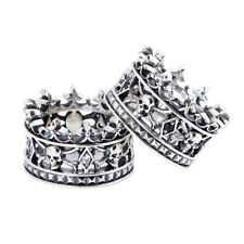 Punk Skull Crown Queen King 925 Silver Women Men Ring Biker Jewelry Couple Gift