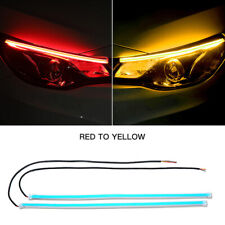 45CM Red DRL Turn Signal Light Strip Yellow Sequential LED Tube Lamp Universal
