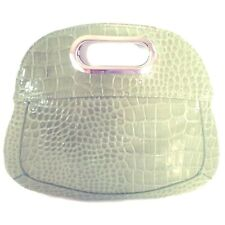 "Nine West Clutch Purse Bag 10"" Cutout Handle Sage Reptile Embossed Faux Leather"