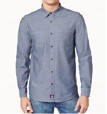Dickies Men's Slim Fit Button Down Shirt, Blue, Large
