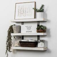 3-Tier Floating Shelf Wall Mount Display Storage Shelving Wood Industrial Rustic