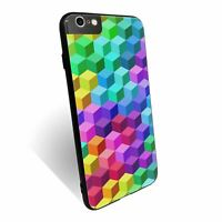 For iPhone 6 PLUS Case Tempered Glass Back Cover Rainbow Pattern Cube - S1094