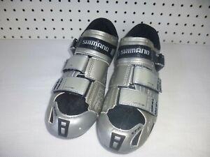 SHIMANO Men's SPD SH-RT80 Silver Black Cycling Road Shoes Size US 10.5 EU 45