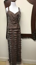 Jessica Howard Womens Brown/Bronze Embellished Layered Evening Dress Gown Sz 12P