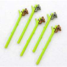 4 Pc Kawaii Koala on Bamboo Gel Pen Set, Cute Koala Bear Planner Pens Stationery