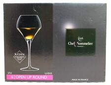 6x CHEF & SOMMELIER Krysta Strong Crystal Open Up Round Wine Glasses BOXED - F13