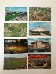 Vintage Lot of 8 SPORTS FOOTBALL BASEBALL STADIUM POSTCARDS 1960s