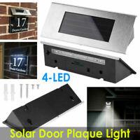 Durable Solar Powered House Door Number Lights Wall Plaque Door Plate Lamp 4 Led