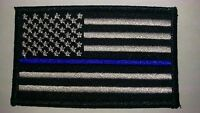 "Thin Blue Line USA Flag Patch Iron On Patch New Police Law enforcement 3.5""x2"""