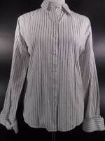 Beautiful Women's 12 Talbots Blue & White Stripes Fitted Long Sleeve Blouse GUC