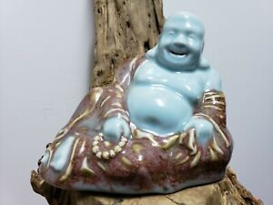 Chinese Old Flambe Sacrificial Red Glaze Porcelain Buddha Statue