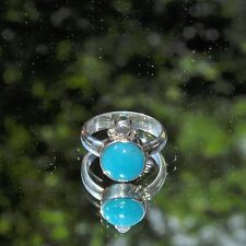 Amazonit Ring, 925er Silber, Edelsteinring (20928), mit Mondstein