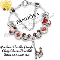 Pandora Charm Bracelet Silver Red Disney Minnie Mickey with European Charms New