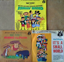 DISNEY - WINNIE THE POOH, FAMILY BAND, IT'S A SMALL WORLD - (3) 45'S + PIC. SLVS
