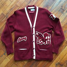VTG Distressed 1940s/50s Letterman Varsity Cardigan Sweater Marked 36 Hornets