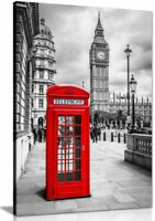 London Red Telephone Box Canvas Wall Art Picture Print