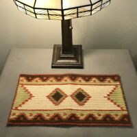"Vintage Southwestern Hand Knit Small Table Runner Aztec 17"" by 8.5"" Autumn Color"