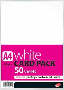 A4 White Card Pack 50 Sheets Per Pack Ideal For Printing Hobbies Crafts 220 GSM