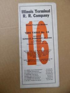 1949 Illinois Terminal Railroad Employee Timetable 16 ITC Traction Div. Vintage