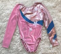 New GK ELITE Leotard GYMNASTICS Dance COMPETITION Pink STARS Bodysuit Sz AS