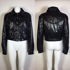 Rare Vtg Gianni Versace Vinyl Leather Medusa Logo Button Jacket M