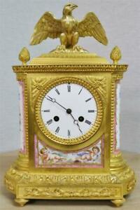 Beautiful Antique French Bronze Ormolu & Pink Sevres Porcelain Mantle Clock