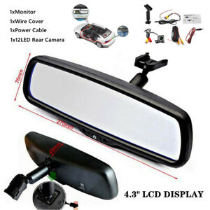 """4.3"""" Reversing Dimming Rear View Mirror Monitors With LED Camera Night Vision"""