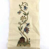 Vintage Cross Stitch Needlepoint Embroidery Flowers House Handmade Unframed
