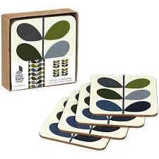 BNIB Orla Kiely  Multi Stem Khaki Marine Set of 4 Coasters Tableware Gift