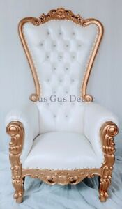 Queen Throne Chair white vinyl with gold finish