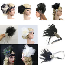 Retro Feather 1920s Flapper Headpiece Headband Great Gatsby Hairband Fancy Dress