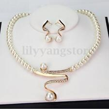 Women Pearl Rhinestone Necklace Earrings Jewelry Set For Bridal Wedding Party