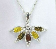 Multicolour Natural Baltic Amber Solid Sterling Silver Italian Necklace- 46.5 cm