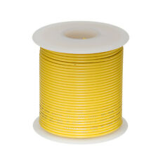 """20 AWG Gauge Solid Hook Up Wire Yellow 100 ft 0.0320"""" UL1007 300 Volts"""