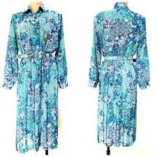 Vintage 80s Accordion Pleated Dress Size Medium Floral Sheer Midi Career