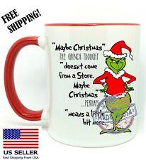 """""""Maybe Christmas"""", The Grinch, Funny Christmas Gift, Red Mug 11 oz, Coffee/Tea"""