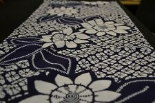 Japanese Cotton Fabric Blue with White Floral Design 1572