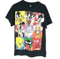 Vtg Looney Tunes Mens Short Sleeve Crew Neck T Shirt All Over Print Black Size M