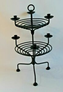 Pottery Barn Black Two Tier Tray Candleholder Iron Rustic Farmhouse Candelabra