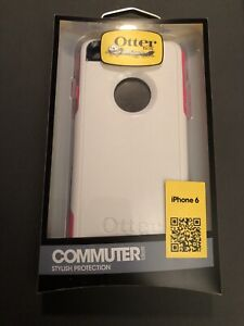 GENUINE OtterBox Commuter Case for iPhone 6 - Glacier White with Pink Trim NEW!