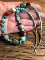 """#1079 Chunky Turquoise, Coral, Stone, Heishi 20"""" Necklace Sterling Silver 925"""