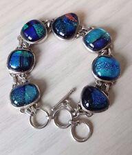 925 Sterling silver Dichroic glass bracelet