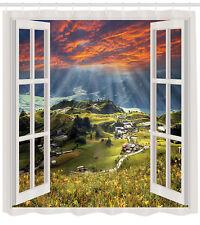 European Decor Mountain Houses Village Cottage Cityscape Bath Shower Curtain Set